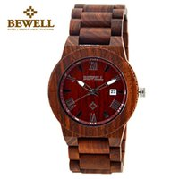 BEWELL Wooden Watch Men Ligero Unique Luxury Brand Reloj de pulsera de cuarzo para hombre con calendario 109B