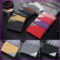 Wholesale Black White Name Cards - Male Female Brand New PU Leather Business Credit Card Name ID Card Holder Case Box, 9 Colors