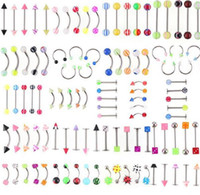 Wholesale Body Jewelry Titanium Piercing Mixed - 105pcs set Mix Acrylic Stainless Steel Eyebrow Navel rings Belly Lip Tongue Ring Nose Bar Rings Body Piercing Jewelry C060