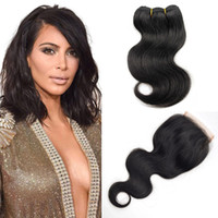 Wholesale Sewing Human Hair Extension - Natural Color 4 Bundles Sew In Hair Extensions Brazilian Body Wave With Closure 8 Inch Short Bob Human Hair Weaves With Closure