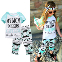 Wholesale Girls Legging Shorts - Kids Clothing Baby Girl Summer Style Clothes Set My MOM NEED Letter Printed Girl Shirt Trouser Legging Pant Sport Tracksuit New Outfit