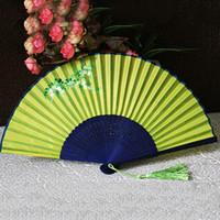 Wholesale Japanese Fan Flower - Japanese Folding Hand Fan Vintage Retro Bamboo Wood Silk Hand Fans Flower Butterfly Pattern Stove Fans For Gils  Women