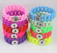 Wholesale Silicone Twist Bracelet - Wholesale Fashion Snap Button Jewelry Candy Color Twist Silicone DIY Snap Bracelet Wristband Noosa Chunks for Promotional Activities Mix