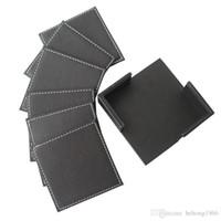 ingrosso tazze-Mat Set delicato Double Sided PU Leather Pad quadrato Tazza da tè Dessert Bowl Coaster Isolamento termico Pratico alta qualità Forniture 23gf F R