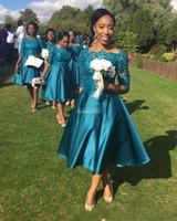 longitud de té vestidos de coral al por mayor-2017 Nuevos vestidos de dama de honor cortos, elegantes y baratos para bodas Teal Satin Lace Media mangas Longitud de té Más tamaño Vestidos formales por encargo
