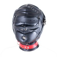 Wholesale Sensory Play - Kinky Soft Padded Leather Locking Role Play Sensory Deprivation Hood Head Enclosure Mask Fetish Sexy Costumes