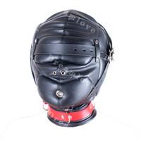 Wholesale Leather Deprivation - Kinky Soft Padded Leather Locking Role Play Sensory Deprivation Hood Head Enclosure Mask Fetish Sexy Costumes