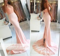 Wholesale Gold Silk Drapes - Sexy Mermaid Prom Dresses 2017 Halter Neck Strap Appliques Lace Beads Ruffles Backless Court Train African Prom Dress for Graduation