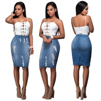 Wholesale Wearing Jeans Summer - Summer Women Sling Top Tight Holiday Dress Casual Zipper Party Nightclub Jeans Dresses Bodycon Bandage Office Wear 2017