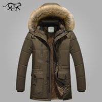 Wholesale Thick Warm Coats Men - Wholesale- New Brand Clothing Winter Men Jacket Fashion Mens Winter Parka With Fur Hood Casual Warm Men's Coats Thick Long Parkas Homme 5XL