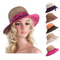Womens Two Tone Summer Bowknot Floppy Polyester Straw Stylish Bowler Wide Brim Sun Beach Chapeu A278