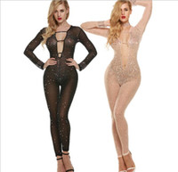 Wholesale Tight Party Jumpsuits - Wholesale- Sexy Hollow Out Tight Party Jumpsuit Fashion Costumes Nightclub DJ Systemic High-End Custom Colored Diamond Jumpsuits Romper