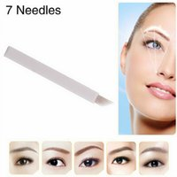 Wholesale Eyebrows Blade - 200Pcs 7 Needle Eyebrow Tattoo Blades For 3D Embroidery Manual Microblading Pen Permanent Makeup Free Shipping