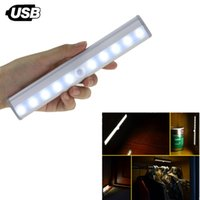 Sensore di movimento del cabinet LED sotto la barra di luci dell'armadio, luce notturna per il guardaroba a 10 LED ricaricabile USB con adesivo Stick-On Anywhere f