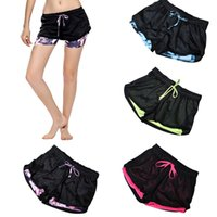 Wholesale Wholesale Beach Pant Shorts - 2017 Fashion Short Pants for Women Summer Workout Running Sports Shorts Gym Yoga Short Double Anti Emptied Beach Shorts ZL3398