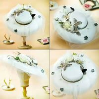 Wholesale Organza Wedding Hats - Women's Organza Kentucky Derby Church Dress Hat Wide Brim Fascinator Tea Party Wedding Bridal Hats