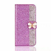 Wholesale lg g3 pouch for sale – best For LG Aristo K7 K10 V10 V20 G5 G4 G3 Tribute HD LS676 X Power TPU Shinny Glitter Bow Wallet Case Pouch
