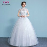 Wholesale Weddings Dresses China - ISER QUEEN High Neck Stand Collar Plus Size Wedding Dress China Hollow Back Short Sleeve A line Vintage Lace Wedding Dresses WX0025
