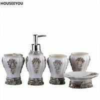 Wholesale ceramics sanitary ware - European Resin Bathroom Accessories Set Bathroom Sanitary Ware Bath Set Toothbrushes Cup Holder Soap Dish Wedding Gifts 5Pcs  Set