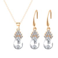 Wholesale Zircon Necklace Sets - Europe and the United States fashion jewelry set crystal zircon water drop necklace earrings set of three sets of wholesale manufacturers