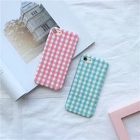 Wholesale Grid Iphone Covers - M8818 simple style dull polish hard case for iPhone7 plus,grid pattern full protection phone cover for iPhone6 6S plus 4.7 5.5inch