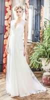 Wholesale Modified Sweetheart - romantic flowy skirt bohemian weddng dresses 2018 charlotte balbier bridal sleeveless v neck sweetheart neckline modified a line sweep train