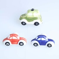 Wholesale Children Cars Shoes - cartoon car ceramic knobs children room red blue green car drawer shoe cabinet knobs pulls kids knobs