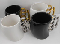Wholesale Knuckle Coffee Mug - Knuckle Duster Mug Fisticup Finger Handle Coffee Milk Drinking Cup Ware Bar novelty Gift 3pcs free ship