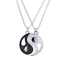 Wholesale Yin Yang Pendant Wholesalers - Wholesale-2PCS Punk Yin Yang Pendants Necklace Black White Couple Sister Friend Friendship Necklace Jewelry Unique Xmas New Year Gifts