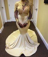Wholesale Elegant High Neck Gold Lace Appliques Prom Dress Sexy sheer long sleeves mermaid evening dress party gown