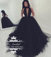 seksi kabarık gece elbiseleri toptan satış-Seksi Halter Backless Siyah Gelinlik Modelleri 2017 Yeni Uzun Resmi Elbise Akşam Aşınma Puf Tül Kadınlar Kokteyl Parti Törenlerinde Custom Made