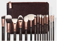 Wholesale Powder Clutch - New Arrival 15 piece Luxurious Makeup Brushes Set + Brush Clutch Bag Powder Foundation Brush face and eye cosmetics brushes kit