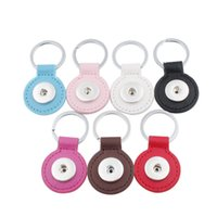 Wholesale Heart Keyrings - 18mm Snap button Leather Keychain Round square Heart Keychains keyrings DIY Noosa Key chain Car Key Storage ring Accessories