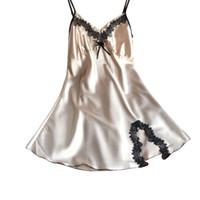 Wholesale Sexy Lingerie Pijama - Wholesale- New Fashion Ladies Sexy Lingerie Lace Silk Satin Night Dress Sleeveless V-neck Nightgown Sleepwear Pijama H2