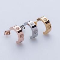 Wholesale Love Screw Earring - Hot sell screw love earrings for women men couple jewelry Titanium brand wholesale christmas earrings boutique