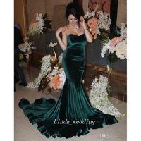robes en velours sirène achat en gros de-Arabe Chasseur Vert Velours Longue Robe De Bal Sexy Sirène Chérie Dubaï Arabe Robe De Fête De Réception Sur Mesure Plus Taille