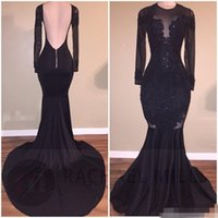 Wholesale Sexy Black Mermaid Stretch Satin - Hot Sale Elegant Black Illusion Prom Dresses 2017 Sexy Backless Mermaid Long Sleeves Stretch Long Evening Party Gowns with Appliques Beaded