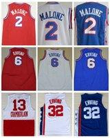 Wholesale Basketball Wilt Chamberlain - Cheap Men's 2 Moses Malone Basketball Jerseys 6 Julius Erving Jersey 32 Julius Erving 13 Wilt Chamberlain Blue Red White Free Shipping