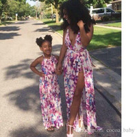 Wholesale Girl Cherries - Mother daughter dresses Cherry 2017 Print dress Family Matching Outfits Half Sleeve Mother's dress and sleeveless Girl Dress