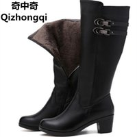 Wholesale Snow Boots Buttons Tall - 2017 Women's warm winter boots, women's genuine leather boots, tall canister boots, motorcycle boots women, free shipping