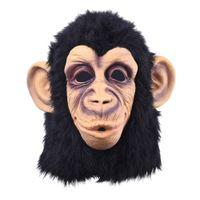 fantasia de macaco halloween fantasia de adulto venda por atacado-Super Adorável Macaco Cabeça Máscara De Látex Rosto Cheio Adulto Máscara de Halloween Masquerade Vestido Extravagante Partido Traje Cosplay Bonito Animal Máscara