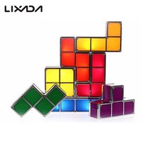 Wholesale Tetris Stackable Led Desk Lamp - Wholesale- 7Pcs DIY Tetris Puzzle LED Light Stackable Desk Table Lamp Constructible Block Toy Retro Game Tower Baby Nightlight