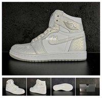 Wholesale Pure Leather Shoes For Men - 2017 Retro 1 High GS Frost White Basketball Shoes For Men & Women, High Quality White Pure Platinum Athletic Sport Sneakers 832596-100 4Y-12