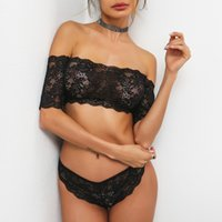 Wholesale Lingerie Femme Sexy Black - Lace bra&brief sets women intimates Transparent lingerie set sexy bra Off shoulder famale balconette brassiere femme