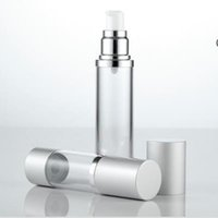 Wholesale Metal Perfume Vials - 30ml 50ml Airless Perfume Bottle Cosmetic Vacuum Flask Silver Pump Bottle High Quality Emulsion Bottle Essence Vials F20171040