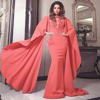 arabisches rotes kaftan kleid großhandel-Fashion Watermelon Red Dubai Arabisch Kaftan Mermaid Abendkleider Jewel Neck Lang Poet Sleeve Appliques Abendkleider Celebrity Dress