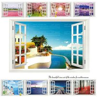 Wholesale Cartoon Scenery - 9 Styles 3020 Removable Beach Sea 3D Window Scenery Wall Sticker home Decor Decals Mural Decal Exotic Beach View Free Shipping