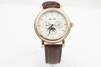 Wholesale perpetual moon - Luxury Brand watch for men Complications Perpetual Calendar moon phase watch automatic white dial leather belt gold Watch Men Watches PP119