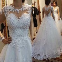 Wholesale Cheap Wedding Gowns China - Sexy See Through Wedding Dresses 2017 Vestido De Noiva Merry Boat Neck Pearls Lace Custom Made China Spring Cheap Bridal Gowns