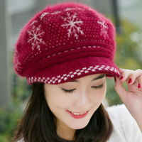 Wholesale Knit Hat Snowflakes - Wholesale-Fashion Snowflake Women Rabbit Fur Beret Hat Fall Winter Female Warm Knitted Cashmere Wool Stretched Casual Visor Caps Hot Sale